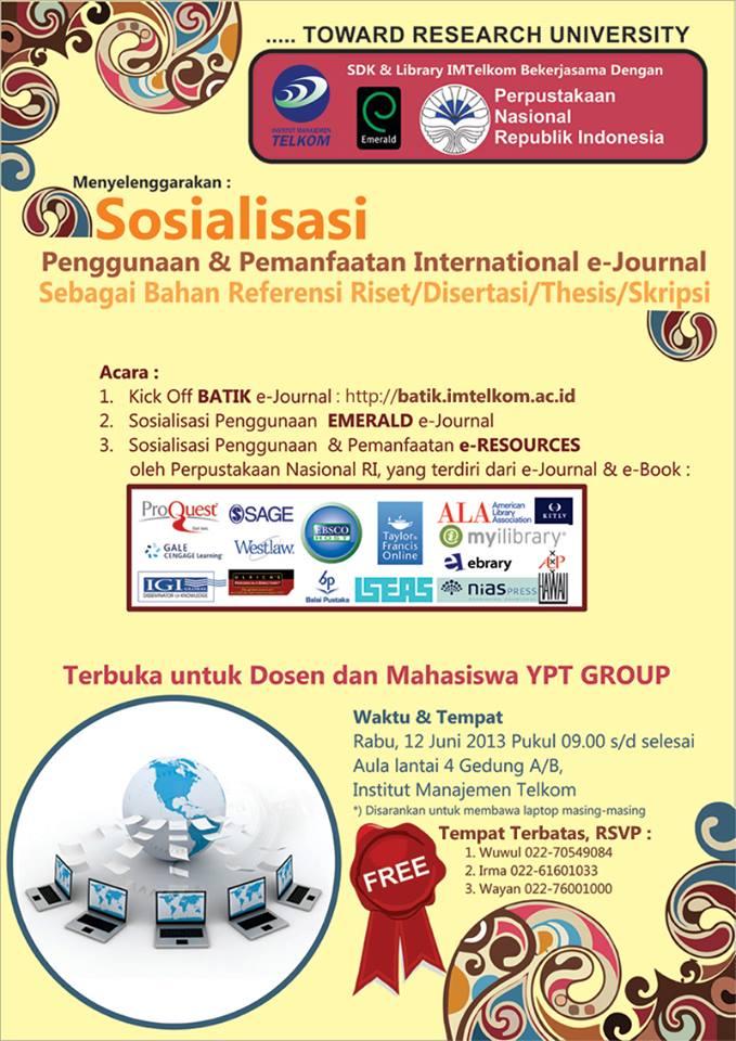 sosialisasi pemanfaatan e-resources di Perpustakaan Nasional Republik Indonesia