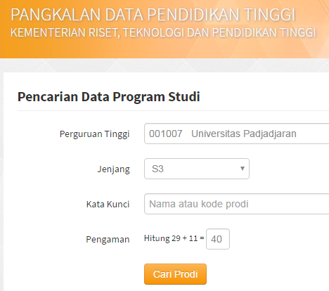 Pencarian Data Program Studi