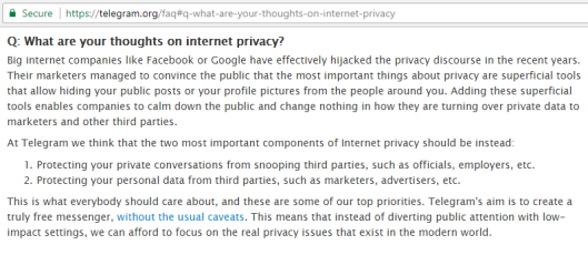 Telegram Privacy Policy